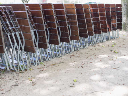 A row of folding chairs