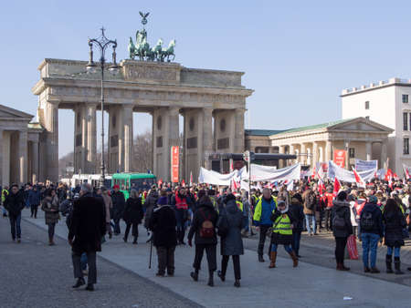 BERLIN, GERMANY - FEBRUARY 14, 2017: Demonstrators At Labor Union GEW Demonstration At Brandenburg Gate, Berlin