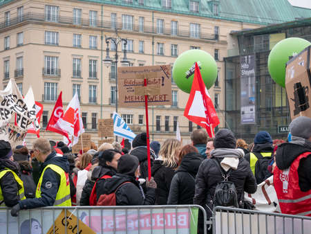 BERLIN, GERMANY - FEBRUARY 13, 2019: Demonstration of German Trade Unions Verdi, GEW, GdP At Brandenburger Tor In Berlin, Germany