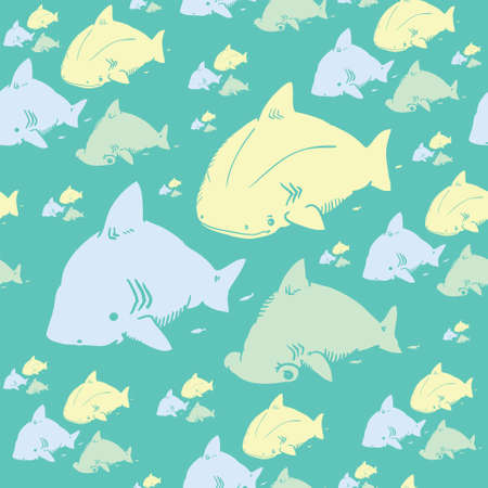 cute sharks are perfect for printing on fabric and creating a wrapper for gift to children. also possible to use as a childrens room design as wallpaper, or as a design element to your website.