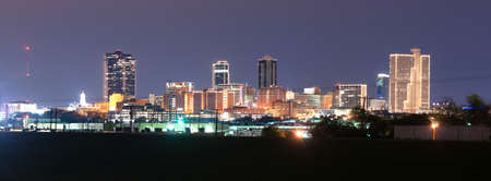 Foto für A storm is passing over downtown Fort Worth overnight - Lizenzfreies Bild