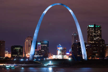 Photo for Night has come to downtown St Louis city skyline along the banks of the Mississippi River - Royalty Free Image