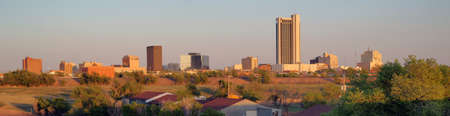 A long panoramic view of the north Texas town metro area of Amarillo