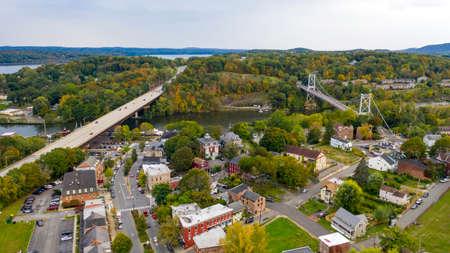 Photo pour Rondout Creek flows past under bridges on the waterfront in South Kingston New York USA - image libre de droit
