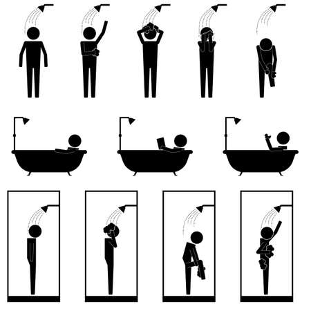 Illustration for men in shower bath tub cubic washing body and hair infographic icon vector sign symbol pictogram - Royalty Free Image