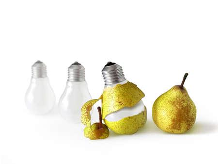 Pear shape light bulb with pear peel.
