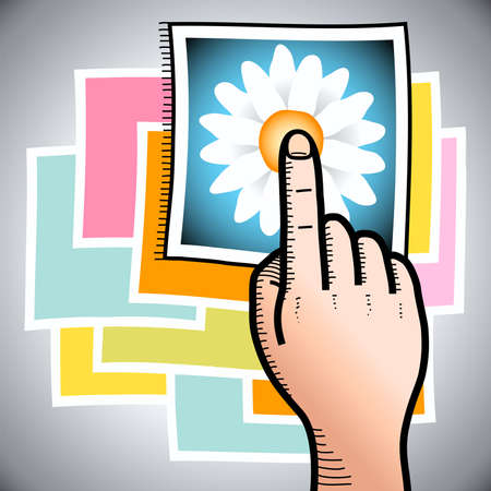 illustration of a hand with finger poiting to a photo of a flower
