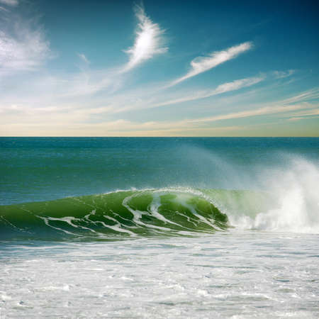 Beautiful seascape with a single perfect wave