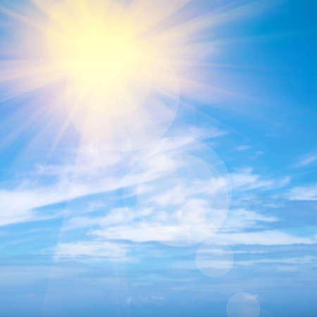 Photo for Heavenly blue sky with bright sunshine and light beams - Royalty Free Image