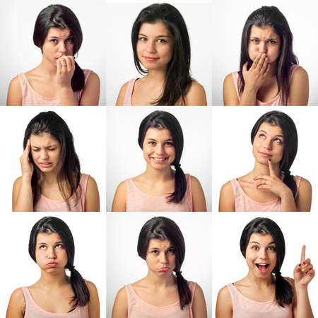 Collection of nine portrait with a girl in various facial expressions