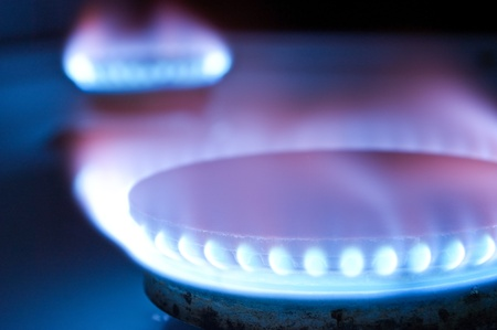 Foto per Gas burners in the kitchen oven - Immagine Royalty Free