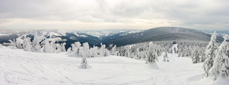 Panorama on the Snieznik Mountain slope Poland