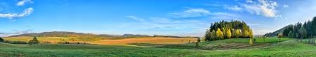 Photo pour Long panorama in Sudeten Mountains with little forest - image libre de droit