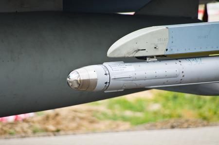RADOM, POLAND - AUGUST 22, 2015: AIM-2000 IRIS-T infrared guided missile under German Eurofighter Typhoon. Airshow event on 22 August 2015, Radom, Poland