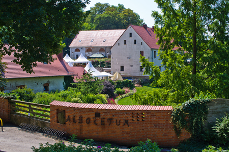 Wojslawice, Poland - June 29, 2018: Aboretum. Garden founded around 1811 when the owners of the Wojslawice village - von Prittwitz and von Aulock families.