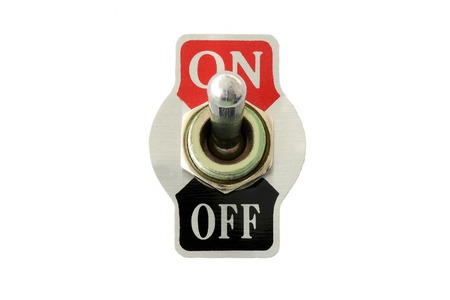 Photo pour Front view closeup of toggle switch for electric circuit on-off, isolated in white background - image libre de droit