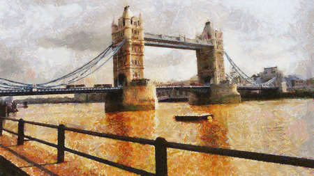 London Bridge Painting Can be canvas or paper printed. Can be requested with or without artist's signature.