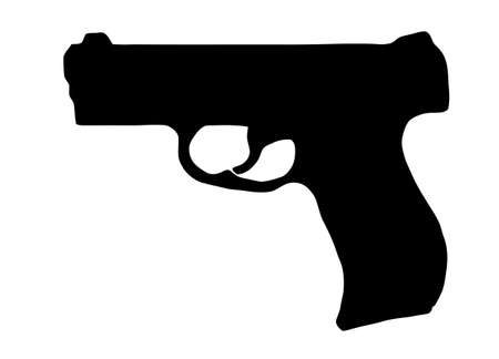 Isolated Firearm - Pistol ᅵ black on white silhouette