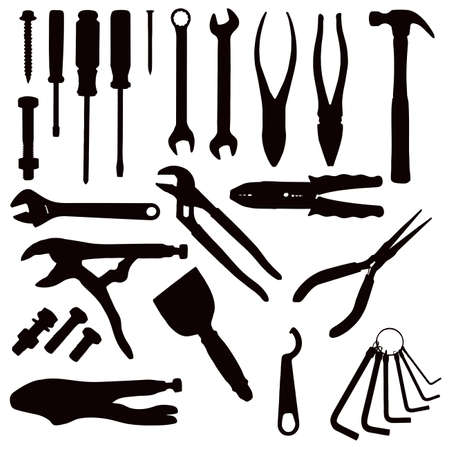 Various Isolated Tools - black on white