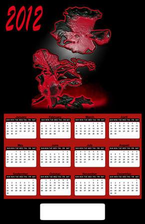 2012 Neon Red Rose on Black Background Calendar