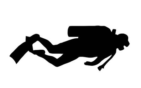 Silhouette of scuba diver swimming with gear