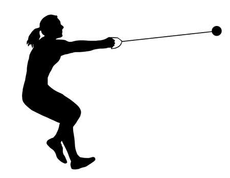 Isolated Image of a Female Hammer Thrower