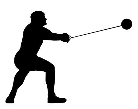Isolated Image of a Male Hammer Thrower
