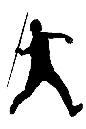 Isolated Image of a Male Javelin Thrower