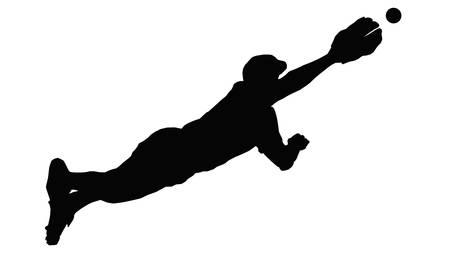 Baseball Fielder Diving Through Air to Catch Ball