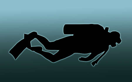 Blue Background Silhouette of scuba diver swimming with gear