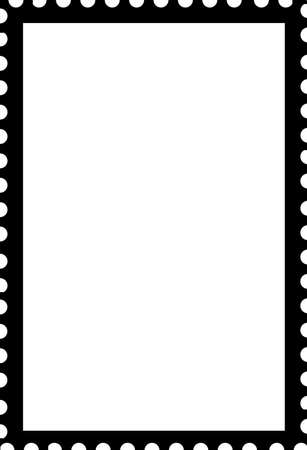 Blank Open Postage Edge Outline Portrait Template Black on White to Create Own Stamp