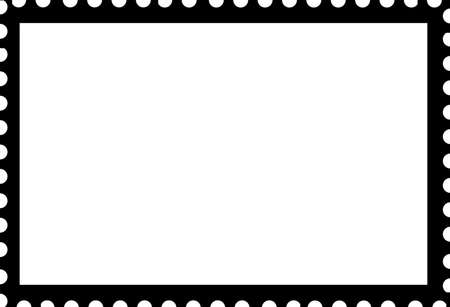 Blank Open Postage Edge Outline Landscape Template Black on White to Create Own Stamp