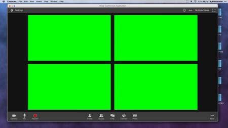 Foto de Generic Video Conferencing Interface with Four Green Screen Frames for Compositing over Video - Imagen libre de derechos