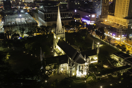 The St. Andrew's Cathedral in Saingapore at night