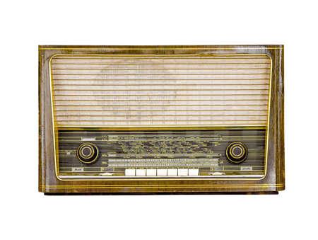 Photo for Vintage radio isolated on white background, retro alanog radio technology  - Royalty Free Image