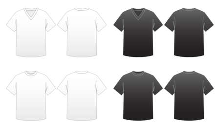 Men's T-shirt Templates Series 1-V-neck and Round-neck tees