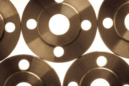 Photo pour Wallpaper of flat steel flange isolated on white. - image libre de droit
