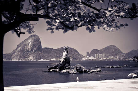 View of the sugarloaf in Rio de Janeiro from Icarai beach in Niteroi