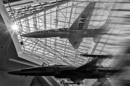 Aircrafts on display at the California Science Center, Los Angeles, California, USA
