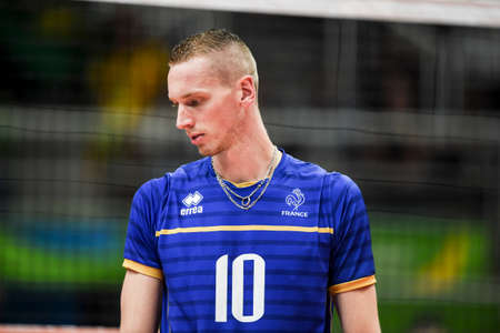 Rio de Janeiro, Brazil - august 15, 2016: Kevin le ROUX during Menss volleyball game  Brazil (BRA) vs France (FRA) in maracanazinho in the Olympics Games Rio 2016