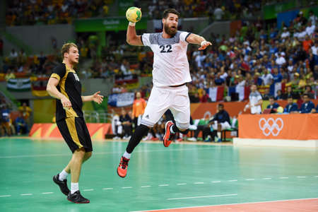 Rio, Brazil - august 19, 2016: Luka KARABATIC (FRA) during Handball game France (FRA) vs Germany (GER) in Future Arena in the Olympics Rio 2016