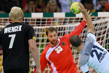 Rio, Brazil - august 19, 2016: Michael GUIGOU (FRA) during Handball game France (FRA) vs Germany (GER) in Future Arena in the Olympics Rio 2016
