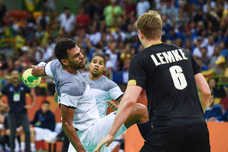 Rio, Brazil - august 19, 2016: Adrien DIPANDA (FRA) during Handball game France (FRA) vs Germany (GER) in Future Arena in the Olympics Rio 2016
