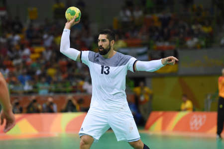 Rio, Brazil - august 19, 2016: Nikola KARABATIC (FRA) during Handball game France (FRA) vs Germany (GER) in Future Arena in the Olympics Rio 2016