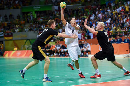 Rio, Brazil - august 19, 2016: Mathieu GREBILLE (FRA) during Handball game France (FRA) vs Germany (GER) in Future Arena in the Olympics Rio 2016
