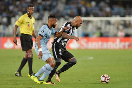 Rio, Brazil - september 13, 2017: Bruno Silva and Bruno Cortez  player in match between Botafogo and  Gremio by the Libertadores Cup 2017 in Nilton Santos Stadium