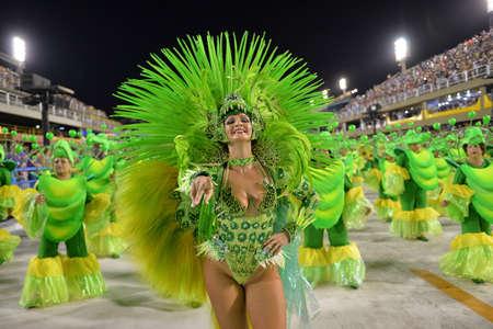 Rio de Janeiro, RJ/Brazil - february 09, 2018: Samba School parade in Sambodromo. Rensacer de Jacarepagua during festival at Marques de Sapucai Street.
