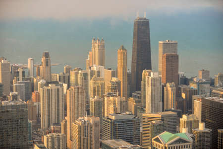 The famous Chicago skyline view from Willis Tower (Sears) looking towards John Hancock Center