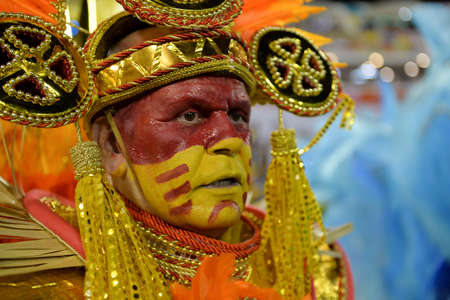 iRio, Brazil - february 11, 2018: Samba School parade in Sambodromo. Unidos de Padre Miguel during parade of the carioca carnival in the Marques de Sapucai