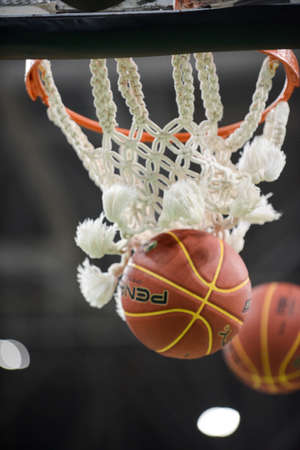 Rio de Janeiro, Brazil - november 01, 2018: basketball ball coming out of basketball net during match.